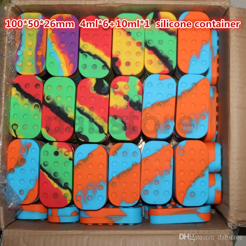 Atacado frascos de silicone dab recipiente de óleo de cera vaporizador 6 em 1/34 ml 7/10/22 / 26ml recipiente de jarra de cera de silicone