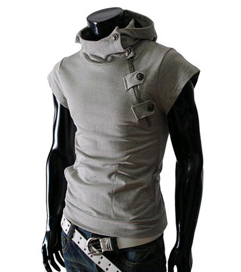 2017 Men Personalized Slim Pullover Top Hoodies Diagonal Zipper ...