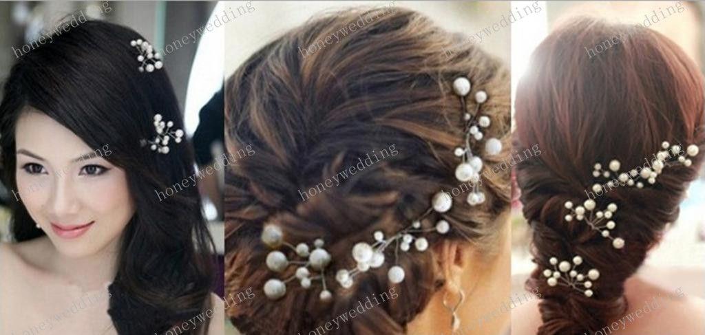 Wedding Bridal Włosów Akcesoria 3 sztuk Druhna Pearl Flower Headpiece Włosów Pinów Włosów Wąż Biżuteria Bride Headdress