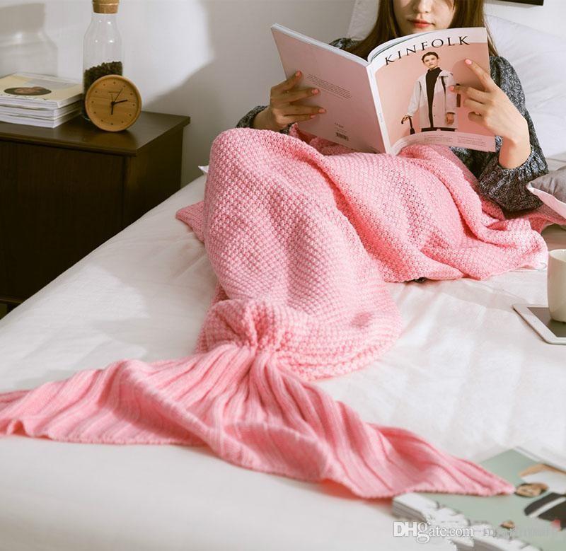 90 * 50cm Mermaid Blankets Mermaid Tail Manta de punto Niños Manta de ganchillo hecha a mano Manta de tiro Cama Wrap Saco de dormir sin DHL