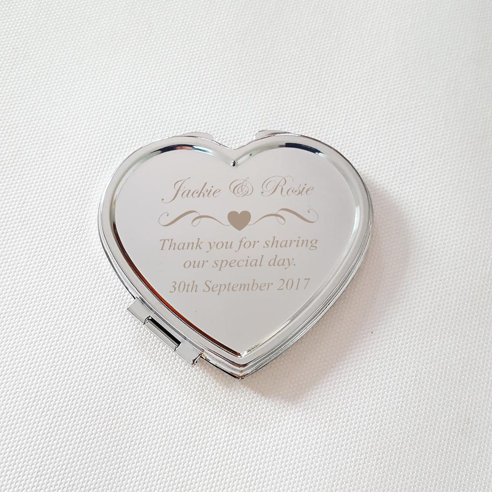 Wedding Favor Heart Shaped Compact Mirror Personalized Makeup Mirror ...