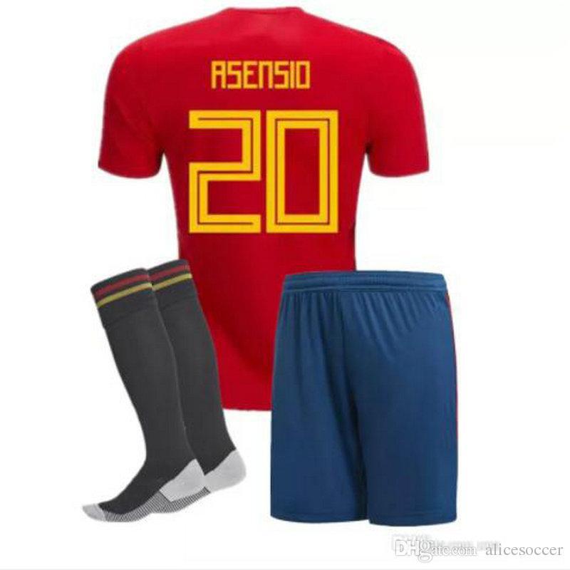 buy online cc2b4 588ea ^_^ Wholesale 2018 spain kids soccer jerseys home custom name number  asensio 20 top quality soccer uniforms football shirts shorts socks