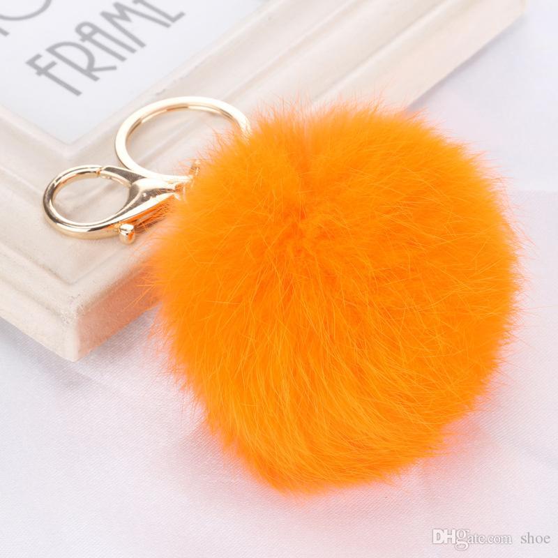 DHL ücretsiz 100 adet 20 renkler güzel 8 CM Hakiki Deri Tavşan kürk topu peluş anahtarlık araba anahtarlık Çanta Kolye araba için anahtarlık