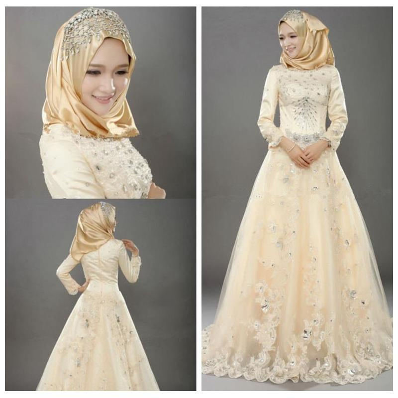 Discount Modest Islamic Wedding Dresses Long Sleeved High Neck A ...