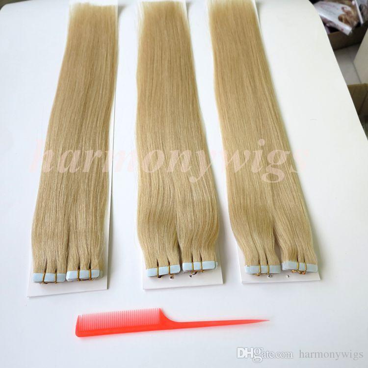 100g /Pack Tape hair extensions 100% Human hair 18 20 22 24inch 60#/Platinum Blonde Glue Skin Weft human Hair extension