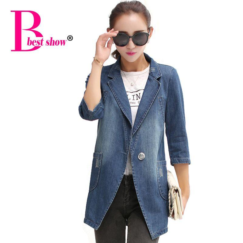 2017 Womens Denim Blazer Jackets 2015 Winter Women Clothing Casual ...