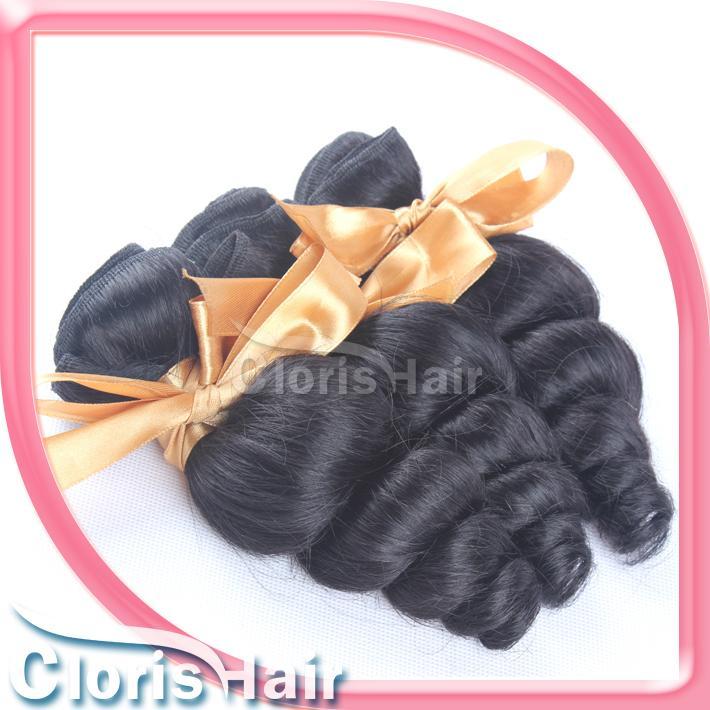 Descuento MIX 2 Paquetes sueltos ola rizada Brasileño Virgen de tejido barato Brasilianos sueltos ondulados extensiones de cabello humano 1b Cutícula completa