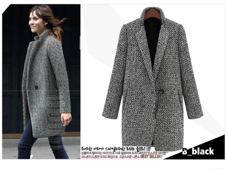 Best Autumn Winter Houndstooth Woolen Coat Fashion Single Button ...