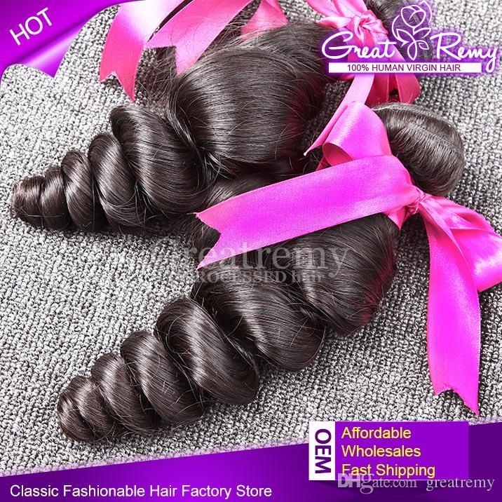100%マレーシアの髪の束3本/ロットレミー人間の髪の毛織り未処理の波状のゆるい波自然色の色素染め可能な髪の伸びるgreatremy