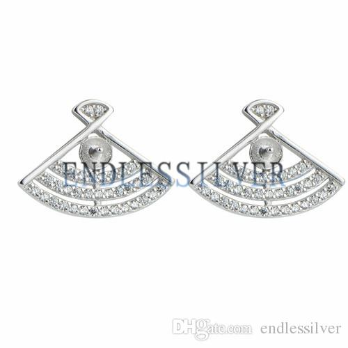 Fan Shapes Earring Settings Three Layered Zircon Studded 925 Sterling Silver Stud Finding for Pearl Party