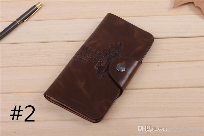 2016 nueva marca de cuero larga cartera vaquero hombres bolsillo tarjeta embrague Cente Bifold Brown sobre monedero 6 estilos venta al por mayor envío gratuito