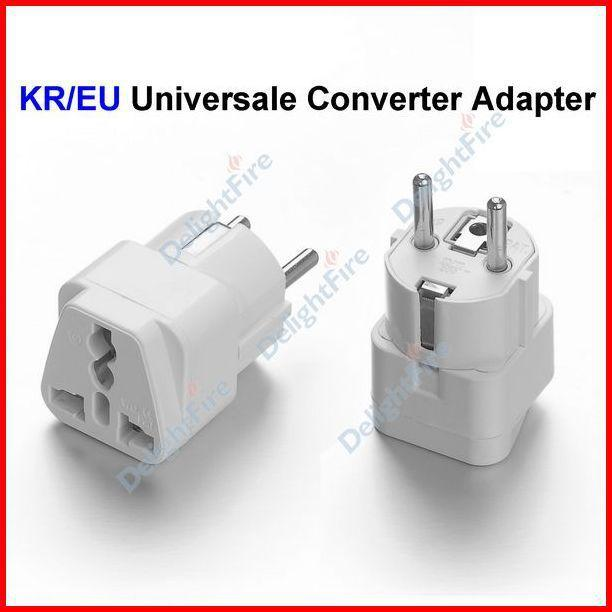 2018 Universal Us Uk Au To South Korea Kr Eu 2 Prong Ac Travel Converter Adapter Power Plug