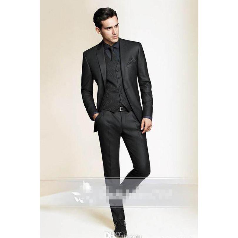 Three Pieces Mans 2016 Tuxedos Suits Black Slim Fit Custom Made Tuxedo For Men Groom Groomsmen
