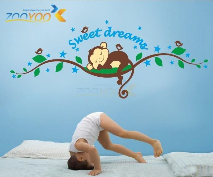 Lovely Pattern A Monkey Sleeping on the Tree Vinyl Decal Removable Wall Sticker Decor Free Shipping