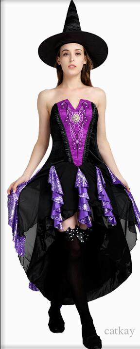 cosplay Halloween costume masquerade adult witch vampire dress costume ghost bride Variety Queen Set purple lace charm wind
