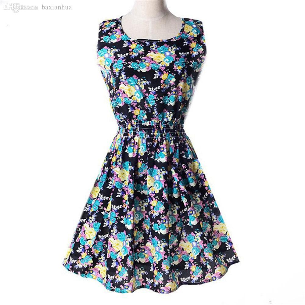 97a62ef05051c Wholesale-Women Dresses Summer Style Dress Floral Printed Pattern Chiffon  Sleeveless Plus Size XXL Black Beige Flower Free shipping