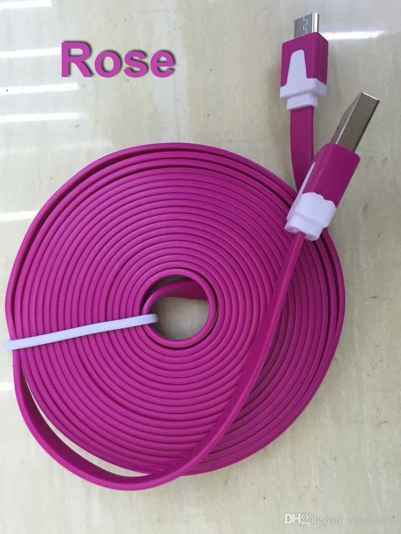 3 m 10 pies 2 m 6 pies 1 m 3FT tallarines cable micro USB plana Cables Cables de alimentación USB Cargador V8 7 generaciones línea de carga DHL envío gratis