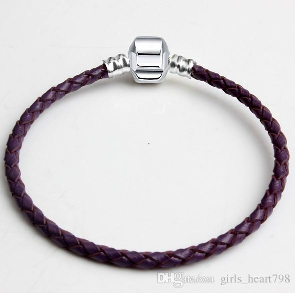 Purple Brand New Mixed Size Silver Leather Snake Chain for Big Hole European Style Beads fit Murano Beads Pandora DIY Bracelets Bangles