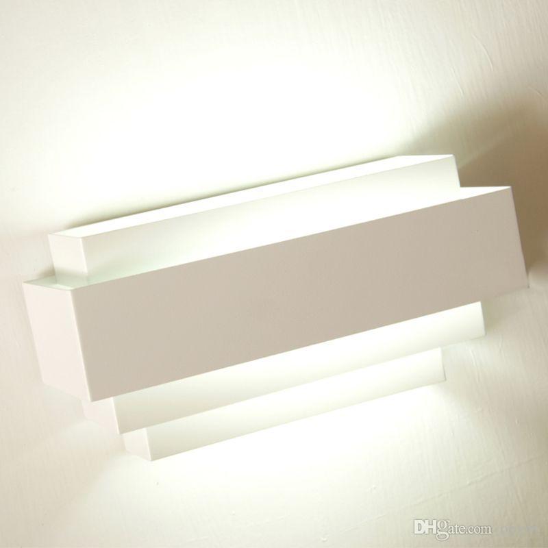 White Iron Rechteck Wandleuchten Modern Simple Bedroom Bedsides Wohnzimmer Wandleuchte Flur Wandleuchten
