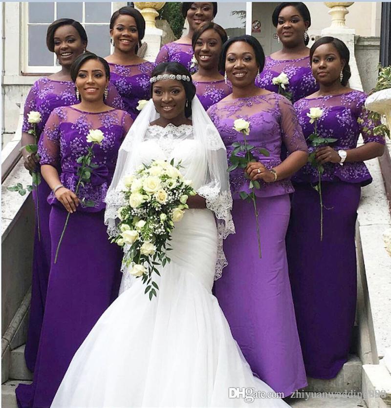 Compre Medias Mangas Púrpura Dama De Honor Africana Vestidos De Raso ...