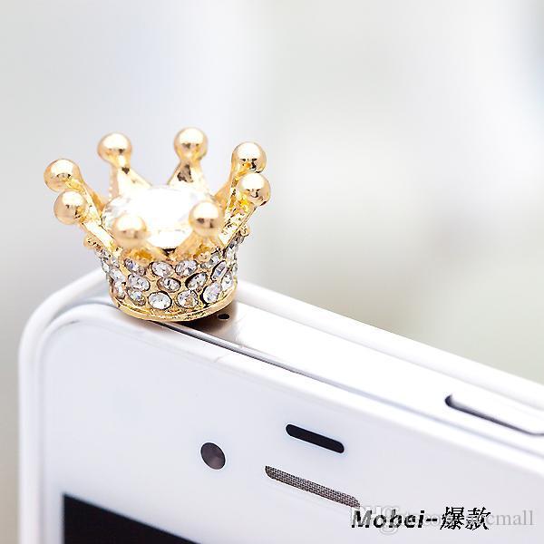 Wtyczka kurzowa Crown Cover Słuchawki Barok Złoty Akcesoria Telefonowe Dustoszczelne Słuchawki Kryształ Anti Ear Cap dla iPhone 6 5 5S 4 4S Samsung HTC