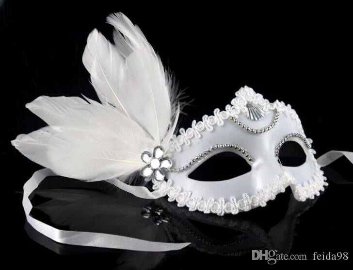 2018 Party Princess mask half face performance masquerade Halloween Mask christmas white feather mask