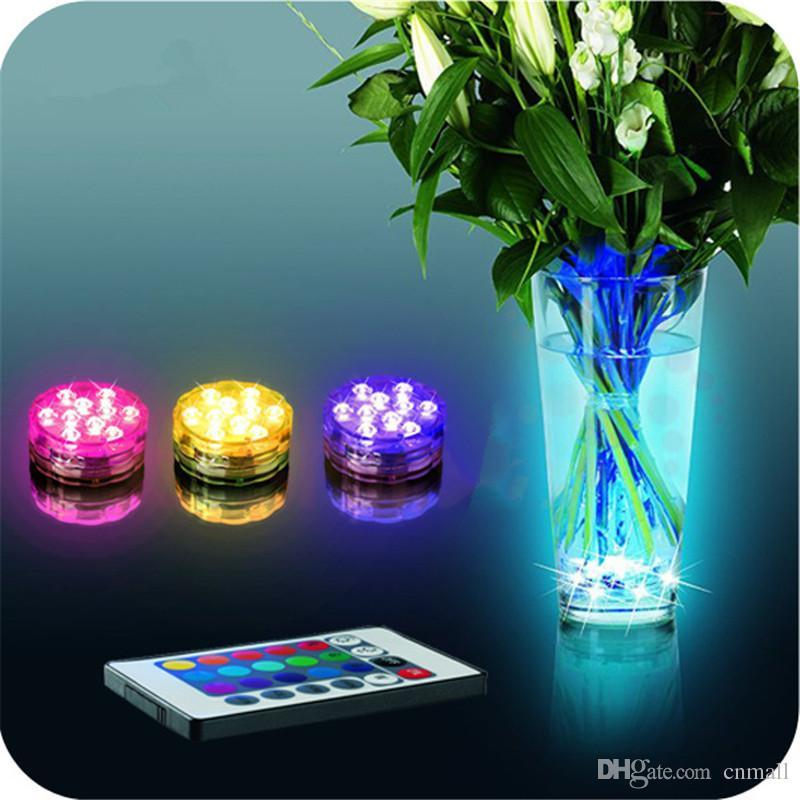 Remote Controlled Submersible Vase Fish Tank Decoration Lamp 10 Led