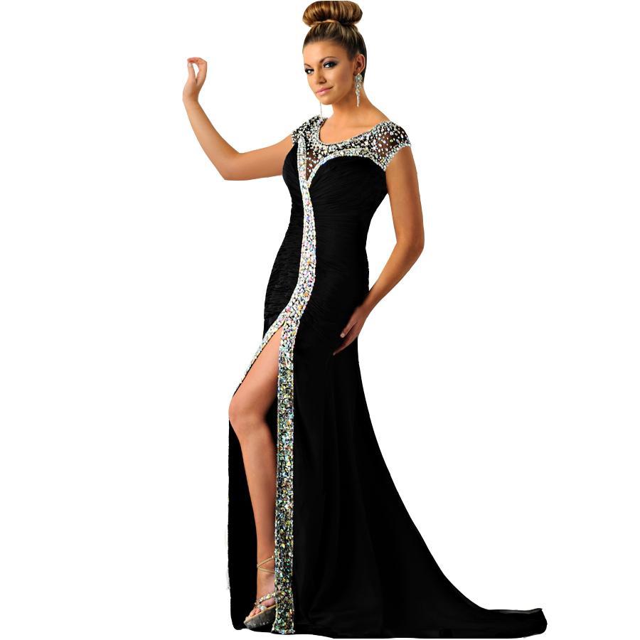반짝이 섹시한 국자 구슬에 인어 이브닝 드레스 2021 사이드 스플릿 라인 석 긴 댄스 파티 가운