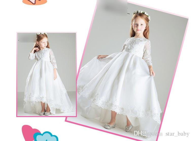 5 Styles Children Long Sleeve Sweet Tutu Ruffle Dresses Children Girls Lace Wedding Dressy Tank Bowknot Party Dress Kids Princess Soft Dress