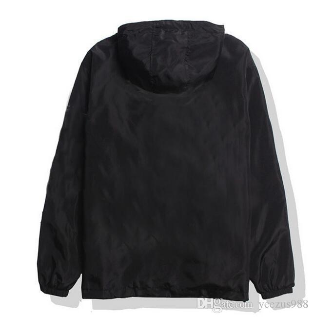 جديد واقية من الشمس سترة واقية سترة الشارع الشهير الهيب هوب كاني ويست الرياح الكسارة jaqueta الغمد ماركة الملابس السوداء