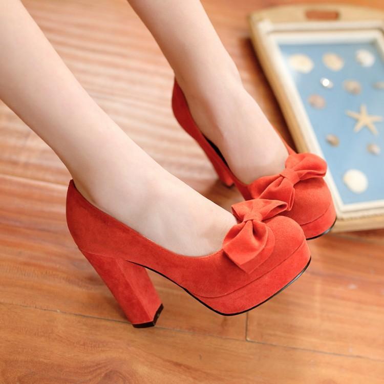 한국 패션 핑크 얕은 입 유럽 방수 활 라운드 헤드 하이힐 신발 2016 두꺼운