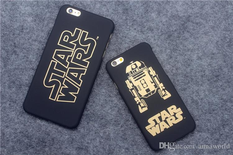 new style beba9 c1362 Star Wars 7 For IPhone6s Plus IPhone 6s Darth Vader R2D2 C3P0 Star Wars  Phone Case Gold Character Frosting PC Hard Back Cases Cover MM051A Cell  Phone ...