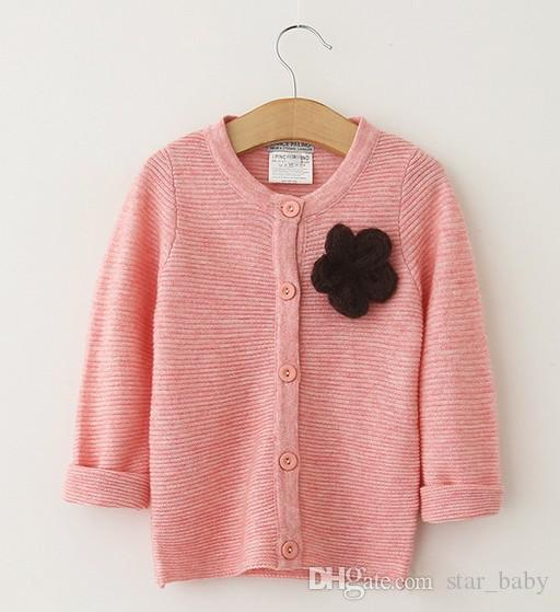 Stereo Brooch Long Sleeve Striped Knit Woolen Black Pink Rose Red Kid Girls Cardigan Fashion Soft Casual N1685