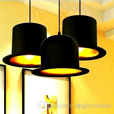 Дживс Вустер Top Hat Подвесные Светильники дизайн 110 В 220 В E27 Патрон лампы алюминиевая шляпа свет для дома Снаружи Черный Внутри Золотой