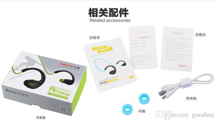Dacom Athlete Sports Headset Earphones Wireless Bluetooth 4.1 Ear Hook Headphones Sweat-proof Handfree with MIC & NFC for iPhone Samsung