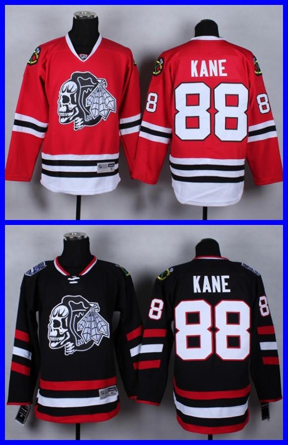 c2741811a91 2015 NEW Chicago Blackhawk Jerseys Patrick Kane  88 White SKULL Men s Ice  Hockey Jersey Black Red