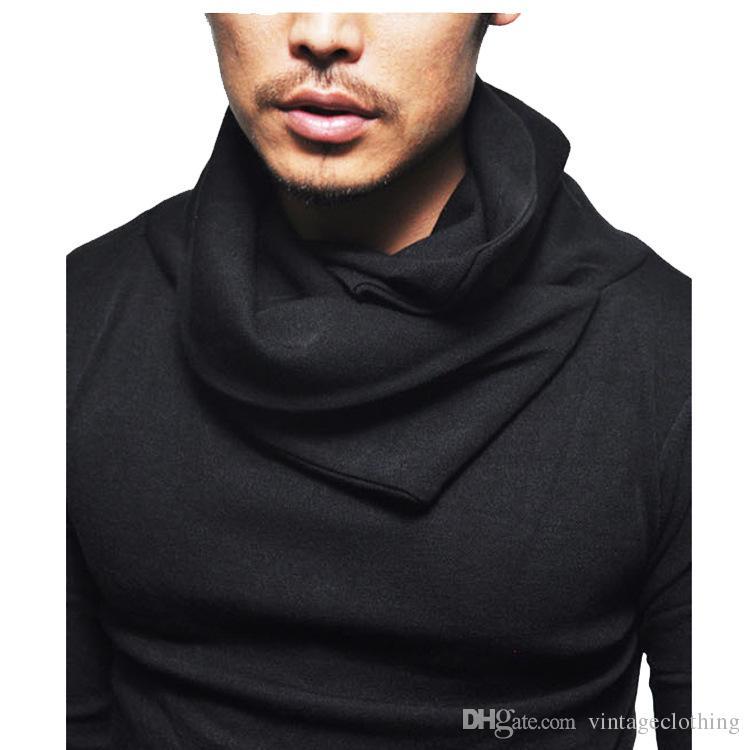 Erkekler Longline Tişörtlü Tasarımcı Yığınlar Yaka Uzun Kollu Hip Hop Katı T Shirt Erkekler Düzensiz tee1 Tops