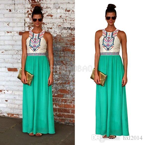 37bb46bb579 Wholesale Women's Clothing 2019 summer Casual plus size vintage bohemian  style boho maxi Dresses for womens beach dress women clothes