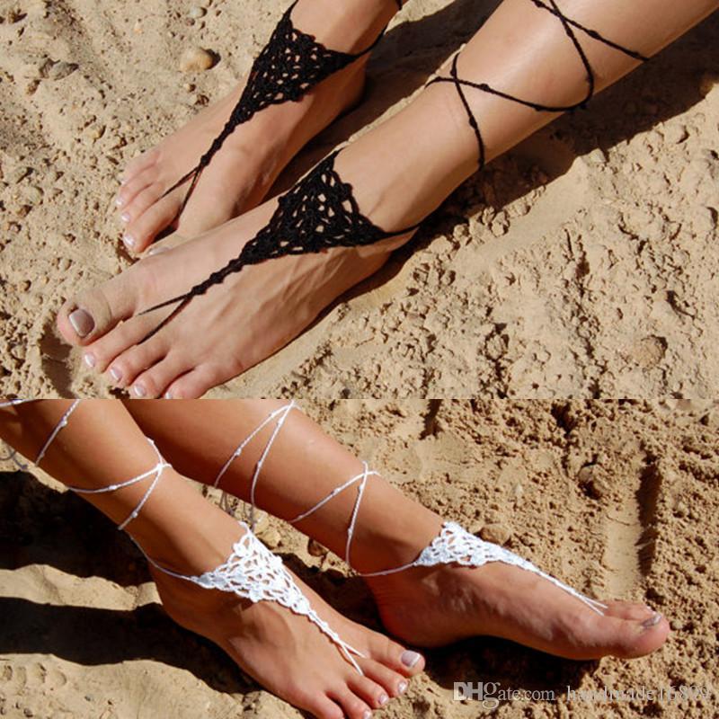 huge discount dd6be ce7ec 1 Paar oder 2 PCS häkeln barfuss Sandalen, Strand Hochzeit Schuhe, Hochzeit  Zubehör, Flip Flop, Nude Schuhe, Yoga Socken, Fuß Schmuck