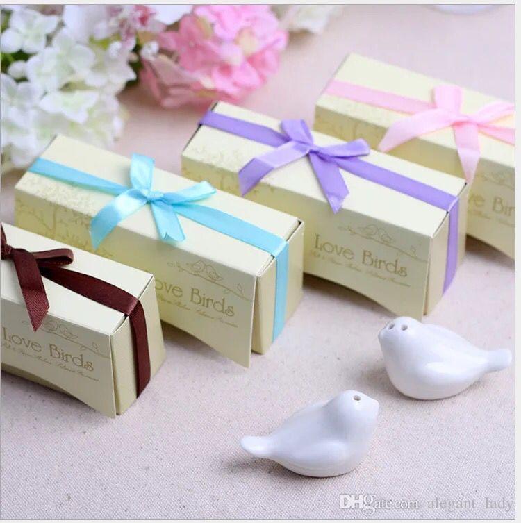 Regalos y favores de boda Love Birds Cerámica Sal Pimentero Caster Caster Suministros de boda Recuerdos Regalos de boda para invitados 2020