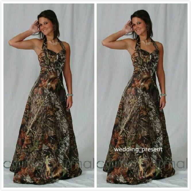 2016 Full Camo Bridesmaid Dresses Halter Prom Dresses With Crystal Beads Custom Made Formal