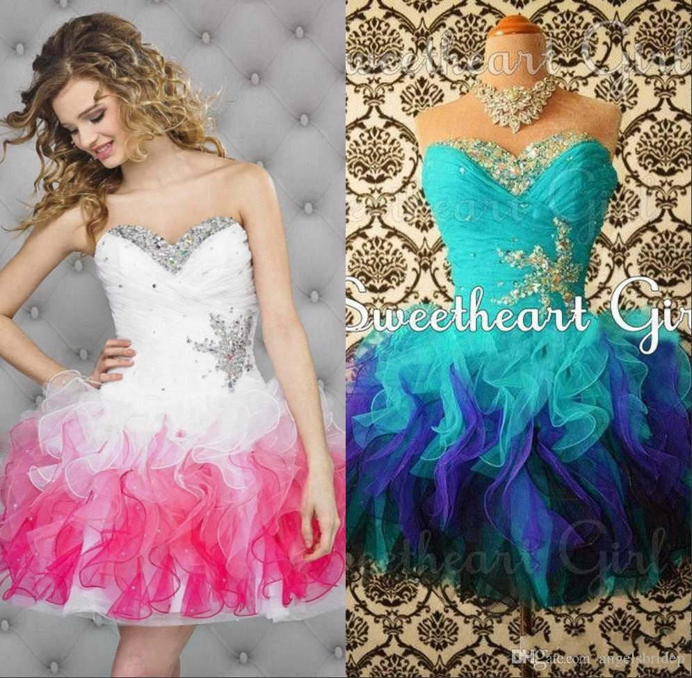 Gradient Colored Pink Homecoming Dresses Puffy Tulle Sweetheart ...