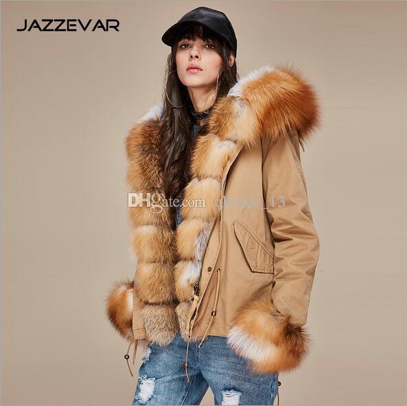 Marrom pele guarnição Jazzevar marca brown prata forro de pele de raposa Cáqui mini jaquetas com fox Placket pele guarnição com capuz