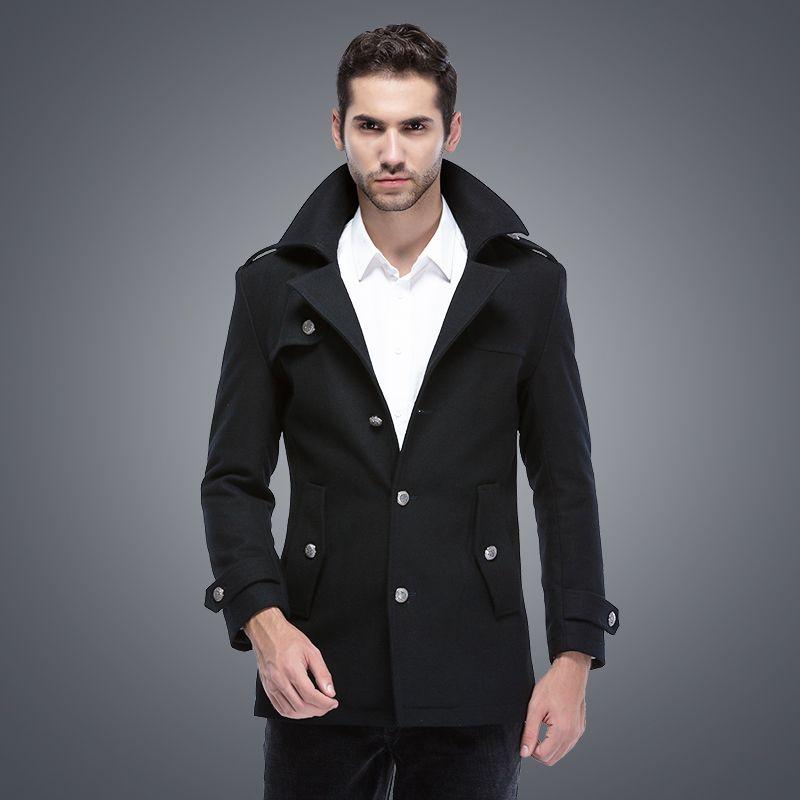 Discount Fall Mens Pea Coat Wool Men Winter Famous Brand Long Pea ...