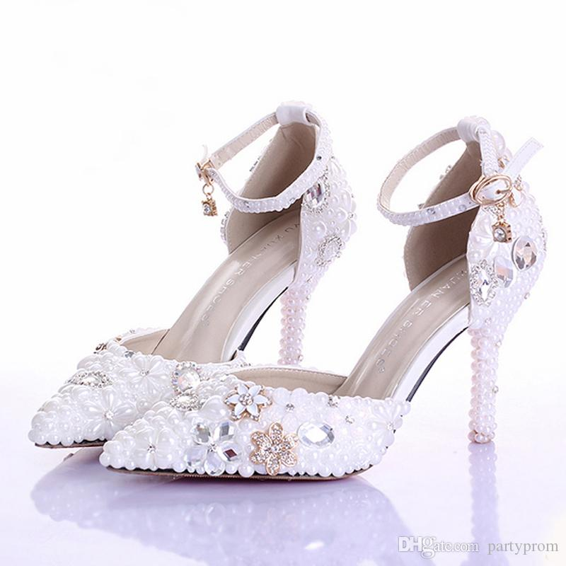 New Rhinestone Pearl Wedding Dress Shoes Pointed Toe Stiletto Heels White 9cm Women Lady Cocktail Evening Bridal Shoes Prom Pumps