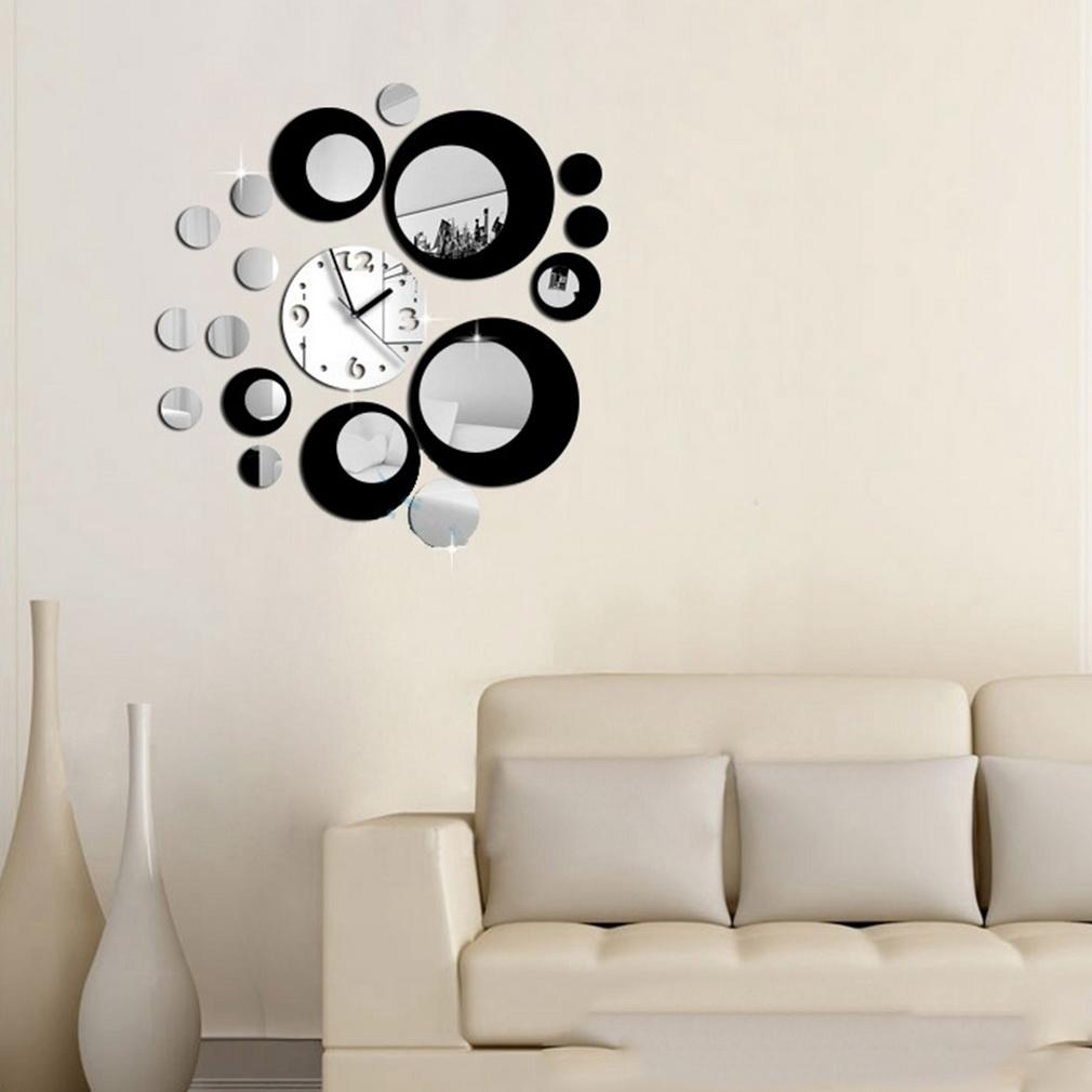 diy self adhesive modern acrylic clock mirror wall room decal  - see larger image