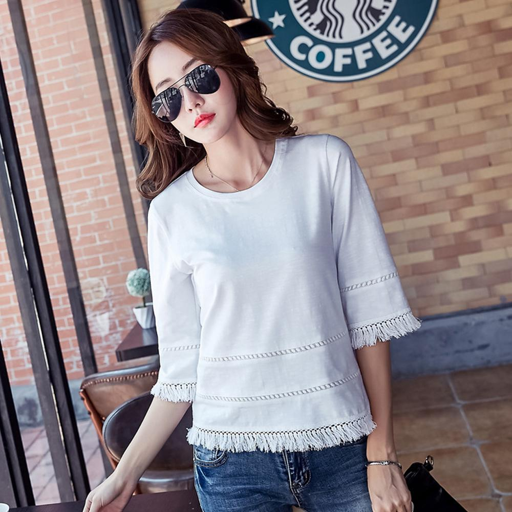 Plus Size Girls T-shirt Summer Slim Half Sleeve Top Shirt Tassel Casual O-Neck Cotton T-Shirts for Women Free Shipping