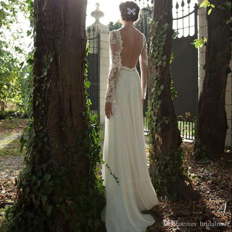 Barato 2019 Manga larga escarpada de una línea de vestidos de boda de Boho ilusión cuello sin respaldo playa de la gasa de los vestidos de novia por encargo Vestidos de novia