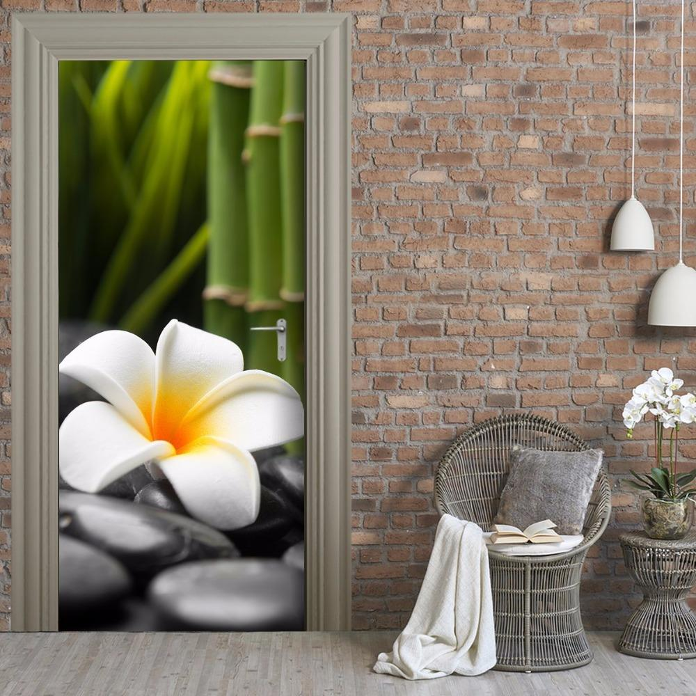 Free shipping DIY 3D flower on stones Door Sticker Home Decor for Bedroom Living Room Poster PVC Waterproof Decal 77*200cm