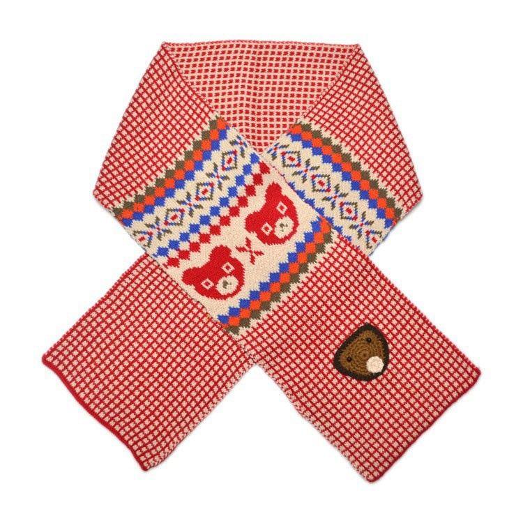 Unisex Children Little Bear Plaid Jacquard Knitted Scarf Child Kids Winter Warm Scarves Muffler